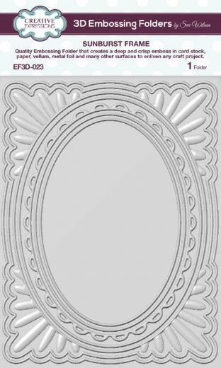CE Embossing Folder 3D 5 3/4 x 7 1/2 Sunburst Frame